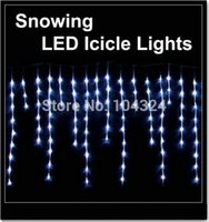 Wholesale Icicle Light Lamp - Xmas lights 100 LED snowing icicle lights curtain lights for Christmas wedding party garden lamps -white