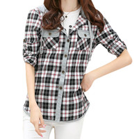 Wholesale Lapel Shirt Classic Women - S5Q Women Classic Long Sleeve Lady Casual Checks Plaid Hoodies Shirts Top Blouse AAAEXD