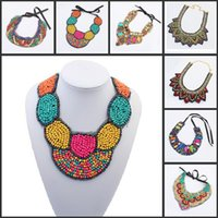 Wholesale Wholesale Women Bohemian White Dress - Retail Bohemian Ethnic Styles Lace Gemstone Necklace Vintage Collar Necklaces Jewelry For Women Dress Up Free Shipping
