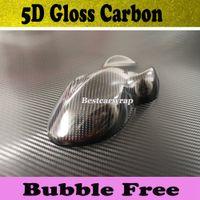 envoltura de coche 5d al por mayor-Alta brillante película de envoltura de coche de vinilo 5D carbono burbuja de aire libre 5D de carbono brillante como real tamaño de carbono 1.52x20m / rollo