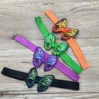 ingrosso fascia colorata della farfalla-2. 5 pollici 20 pz / lotto Farfalla Nastro Archi Dei Capelli Fascia Colourful Archi Con Hairbands Per I Bambini Bambini Ragazze 'Accessori Per Capelli