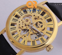 Wholesale Mens Wrist Watches Manual - Hot Sale gold ver Big size Mens Manual Skeleton Mechanical Watch Wrist Hours 30pcs lot DHL Free Shipping