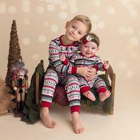 Wholesale summer pjs online - Children Christmas Family Romper Brother Clothing Suit Toddler Boy Girl Long Sleeves Stripe PJS Infant Outfits