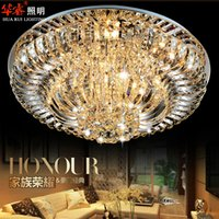 Wholesale Contemporary Crystal Ceiling Light Fixtures - Contemporary Round Crystal Chandeliers Surface Mount Ceiling Lamp E14 Led Glass Hanging Lights Fixtures Kitchen Living Room Bedroom