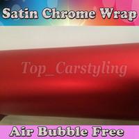 coche envuelto cromo rojo al por mayor-Premium Chrome Satin Red Vinyl Car Wrapping Film para vehículos de estilo de coches con Air Release rojo hojas de lámina de cromo mate 1.52x20m / rollo