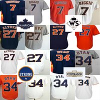 Cheap 2017 Houston Strong WS Campeones Patch Mens 27 Jersey Jose Altuve 34 Nolan Ryan 7 Craig Biggio Local Visitante Alternate Baseball Jerseys