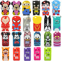 Wholesale Despicable Batman Iphone Case - 3D CARTOON Despicable Me Superman Captain America Mickey Minnie Mouse Duck Batman Silicone Case for Iphone 5S 6 4.7 Plus 5.5 inch case
