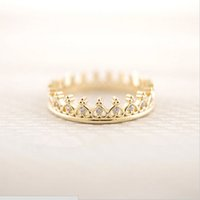 Wholesale k pop fashion - Fashion k-pop Cz Crown Rings Crown imitation diamond ring Rings for women mix color 18K Gold Plated rings