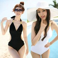 Wholesale V Neck Fringe Monokini Swimsuit - Newest Sexy Women's Fringe Monokini Swimwear Fringe Deep V neck Chest Opening Halter Top One-piece Swimsuit Bathing Suit Beachwear 50se