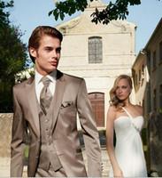 Wholesale Grey Bespoke Tuxedo - Wholesale-Hot Sales Men Suits Custom Made Trajes De Novio Bespoke Groomsmen Tuxedos Business Suits Groom Wedding Suits M213