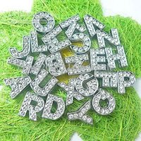 Wholesale Wholesale Small Metal Letter - 130pcs 10mm full rhinestone letters DIY letters fit 10mm pet collar wristband