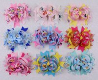 "Wholesale Baby Hair Clips Supplies - New supply Favorite Princess Cinderella jingle 9pc baby girl kids boutique 5"" hair bow with clips 2182-Y"