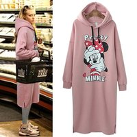 Wholesale Hooded Plus Size Dress - 2016 dresses for womens spring printing Mickey casual fashion hooded sweater plus size autumn wholesale dresses women clothes 4xl dress