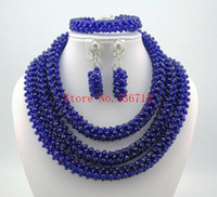 Wholesale Custome Jewelry - 2016 New Purple Nigerian African Wedding Beads Jewelry Set Plastic Pearl Custome Necklace Jewelry Set Free Shipping ST301-3