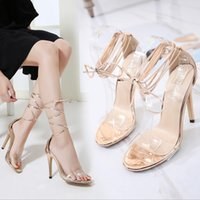 2017 Moda Womens Open Toe Sandals Lace Up Ankle Strappy High Heels Stiletto Transparente Clear Party Prom Shoes