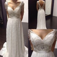 Wholesale Cheap Anna Campbell Dresses - 2015 Sexy Anna Campbell Backless Wedding Dresses Cheap Beach Plus Size Wedding Dresses Beads Capped Sleeves Vintage Wedding Dresses Lace