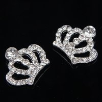 Wholesale Crown Embellishments Wholesale - Wholesale-Wholesale 30mm*25mm Rhinestone Crown rhinestone Flatback Embellishment For Wedding Accessories 100pcs lot