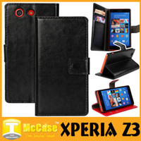 Wholesale Xperia L White Case - Xperia Z3 Luxury Crazy Horse Wallet Case Pu Leather Stand Flip Cover Case Cases With Card Slots Holders Bag For Sony Z3 Z2 Z1 MINI 50pcs l