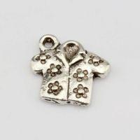 Wholesale Antique Jacket - Hot ! 200 pcs Antique Silver Alloy Printed Jacket Charm Pendant 15x15.5mm DIY Jewelry