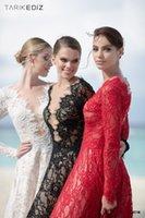 Wholesale Tarik Ediz Long Black Dresses - Tarik Ediz Sping Summer 2016 Lace Evening Dresses White Black Red Prom Dresses Long Sleeves Pageant Dresses