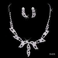 ingrosso collana di promenade elegante-15019 degli orecchini della collana perla strass nuziale design elegante argento placcato monili di accessori a buon mercato per Prom del partito 15