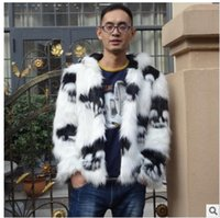 Wholesale men winter jacket fox - Wholesale- S 3Xl Mens Hooded Large Size Faux Fox Fur Skull Printing Casual Winter And Autumn Fur Jackets Patchwork Male Outwears Clothes C3