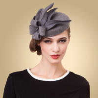 Wholesale Grey Hat Fascinator - Elegant Grey Formal Occasion Hats Wool High Quality 2015 Winter New Arrival Free Size Prom Evening Kate Middleton Hat Bridal Hats