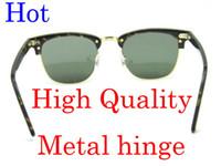 Wholesale Half Frame Square Glasses - New Style Metal hinge Sunglasses Plank Tortoise Frame Sunglasses black sun glasses Brand New Style club Sunglasses unisex