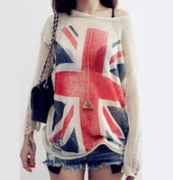 Wholesale Uk Flag Sweaters - Wholesale- New Arrival UK Flag Sweaters Mujer 2015 Holes Ripped knitted Pullover Sweater Jumper Long Sleeve One Size Tops Women Sweaters