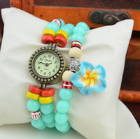 Wholesale Plastic Round Beads Mm - Top New Fashion Women Ladies Beads Bracelet Flower Pendant Colorful Dress Plastic Bracelet Wristwatch Gift Watch