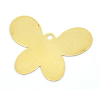 Wholesale Brass Pendant Charms - 50Pcs Free Shipping Brass Tone Butterfly Blank Stamping Tags Pendants For Necklaces Jewelry Diy Findings Charms 26X20mm