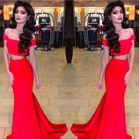 Wholesale Tow Pieces - Sexy 2017 Red Satin Tow Pieces Mermaid Prom Dresses Long Cheap Off Shoulder Formal Party Evening Gowns Custom Made EN10269