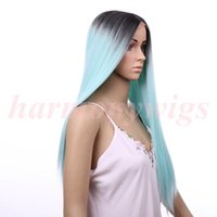 Wholesale Green Black Wigs - Hair wigs Lace Front Wigs 20inch ombre color chocolate Black& Mint Green Synthetic Heat Resistant