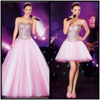 Wholesale Vintage Sexy Ball Dress Designs - Chic Detachable Skirt Pink Prom Dresses Ball Gown Elegant Sleeveless Sweetheart Bling Party Dresses 2016 New Design Quinceanera Dresses