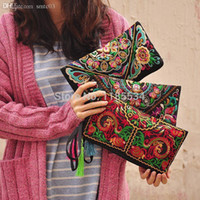 Wholesale Wholesale Wristlets - Wholesale-Chinese Traditional Ethnic Vintage Dragon Design Embroidered Women Handbag Wristlets Clutch Coin Purse Casual Bag Free Shipping