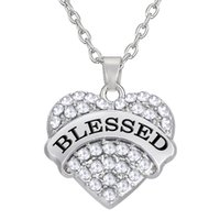 Wholesale Wholesale Rhinestone Crystal Letters - Rhodium Plated Mixcolor Heart Crystal Letter BLESSED Pendant Necklaces For Woman Jewelry