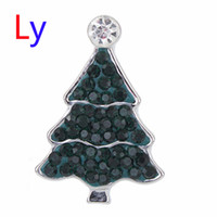 Wholesale Tree Fashion Ring - Hot Sale Snap Jewelry Button For Bracelet Necklace 2016 Fashion DIY Jewelry Bblack Crystal Christmas Tree Design Alloy Snaps AC130