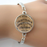 Wholesale Goth Silver Ring - Ouija Board Bangle,Spirit Board Goth Style,Halloween A B C alphabet 0123 Number Art Picture Glass Dome Bracelet jewelry GL010