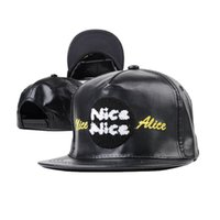 Wholesale Nice Hat Snapback - 2 color Hip Hop Nice Snapback Baseball PU Caps Unisex Sports Adjustable Bone Women Leather Hats Men gorras Caps Casual A214