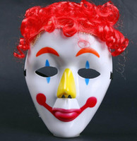 Wholesale Masquerade Wigs - Dance party COS Clown mask kids children Hallowmas Venetian mask masquerade full face masks with wig hairpiece Festive event Supplies GIFT
