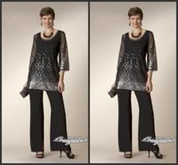 siyah payet pantolon kıyafeti toptan satış-2019 Yeni Glaring Siyah Twe Adet anne Gelin Elbiseler Ile Pant Suits Sequins Düğün Konuk Abiye Boncuklu Abiye 120