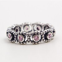 Wholesale Hot Pink Silver Ring - Hot 100% 925 Sterling Silver Her Majesty Ring with Pink CZ European Pandora Style Jewelry Charm
