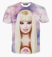 Wholesale 3d Sexy Dolls - Summer style barbie doll print t-shirt unisex tshirt casual 3d t shirt for women cotton sexy T-shirt tops clothing wholesale