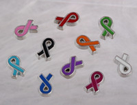 Wholesale Ribbon Plates Wholesale - Floating lockets Charms Cancer Ribbon Enamel Vintage Silver For Floating Locket 30mm Bracelet Jewelry Making Girls Bijoux 100Pcs A41
