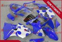 plásticos de ninja kawasaki brancos venda por atacado-Pintado branco azul padrão de moldagem por injeção de plástico personalizado carenagem Kawasaki Kawasaki Ninja ZX6R 2000-2002 36