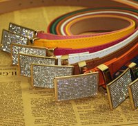 Wholesale Coloured Belts Leather - 2016 Hot Sales Popular Fashion Designer Belts Smooth Buckle Fashion Wild Women's Belts 10 Colour Size Length 105cm Width 2.3cm