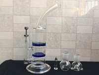 Wholesale titanium tornado nail for sale - Group buy Hot sale CM Blue bong two function honey comb and tornado perk glass bongs with Titanium nail mm jiont glass bowl