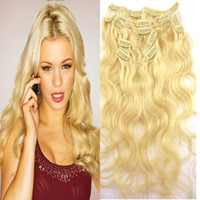 Wholesale brazilian human hair 18 5a resale online - 5A Brazilian Virgin Hair Clip In Hair quot Clip In Human Hair body wave B g set Human Hair Extensions dhl free