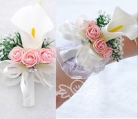 Wholesale Wholesale Wrist Wedding Corsages - White Callalily With Rose Romantic Bridal Pearls Wrist Corsage+Groom Corsage Match Wedding Supplies Flowers Bouquets Accessories Cheap