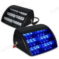 feux de police achat en gros de-Livraison Gratuite CSPtek 18 LED Lampe Bleu Strobe Police D'urgence Clignotant D'avertissement Lumière pour Voiture Camion Véhicule
